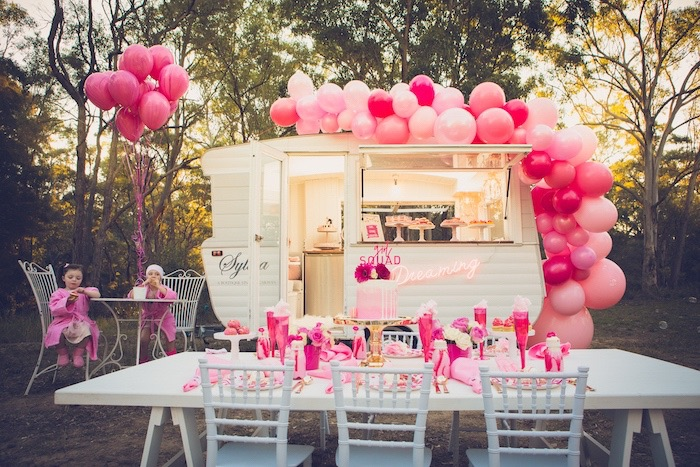 Girl Squad Guest Table + Dreaming Camper from a Bright & Modern Glamping Birthday Party on Kara's Party Ideas | KarasPartyIdeas.com (14)