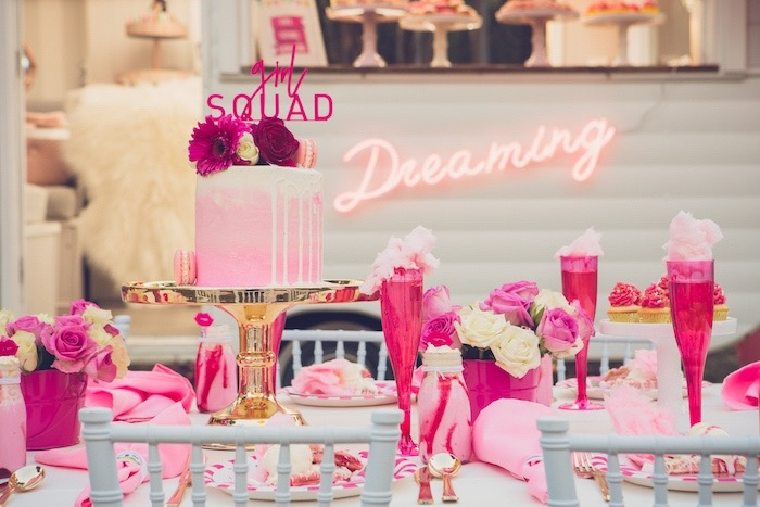 Girl Squad Guest Table from a Bright & Modern Glamping Birthday Party on Kara's Party Ideas | KarasPartyIdeas.com (13)