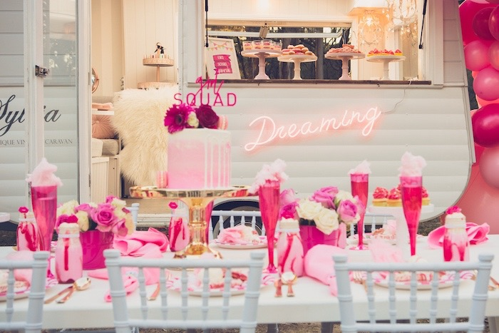 Girl Squad Guest Table from a Bright & Modern Glamping Birthday Party on Kara's Party Ideas | KarasPartyIdeas.com (12)
