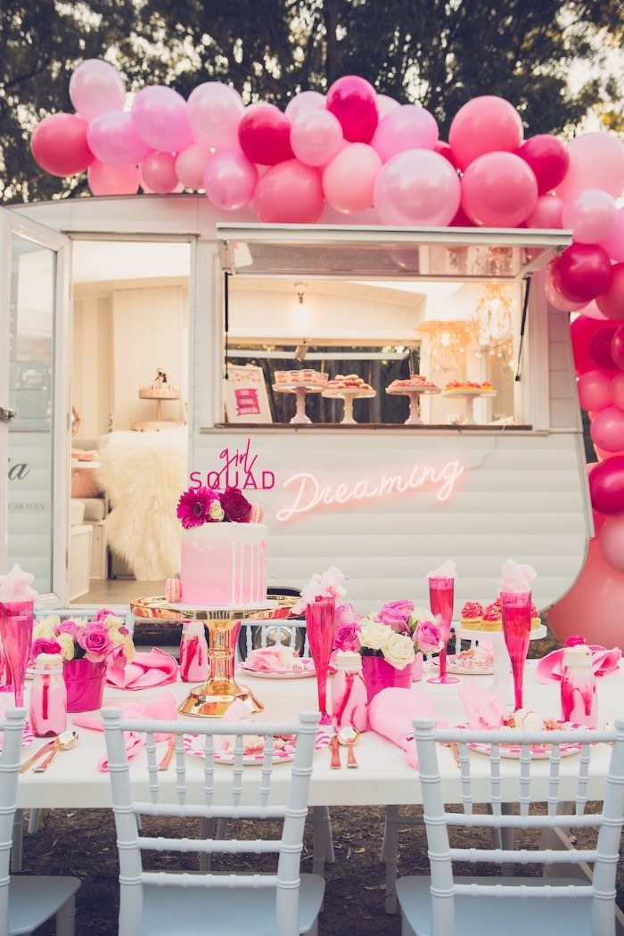 Girl Squad Guest Table from a Bright & Modern Glamping Birthday Party on Kara's Party Ideas | KarasPartyIdeas.com (11)