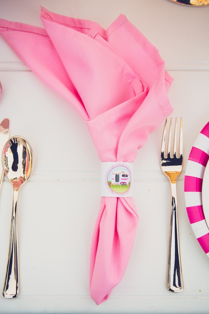 Pink Napkin with Printed Camper Ring from a Bright & Modern Glamping Birthday Party on Kara's Party Ideas | KarasPartyIdeas.com (8)