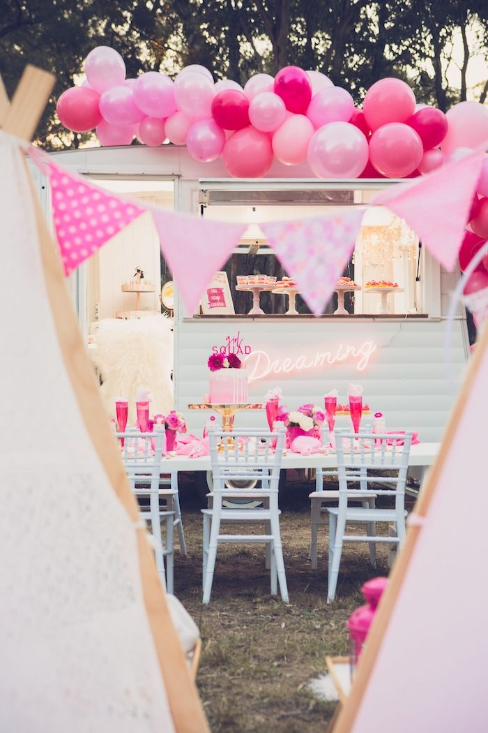 Bright & Modern Glamping Birthday Party on Kara's Party Ideas | KarasPartyIdeas.com (5)