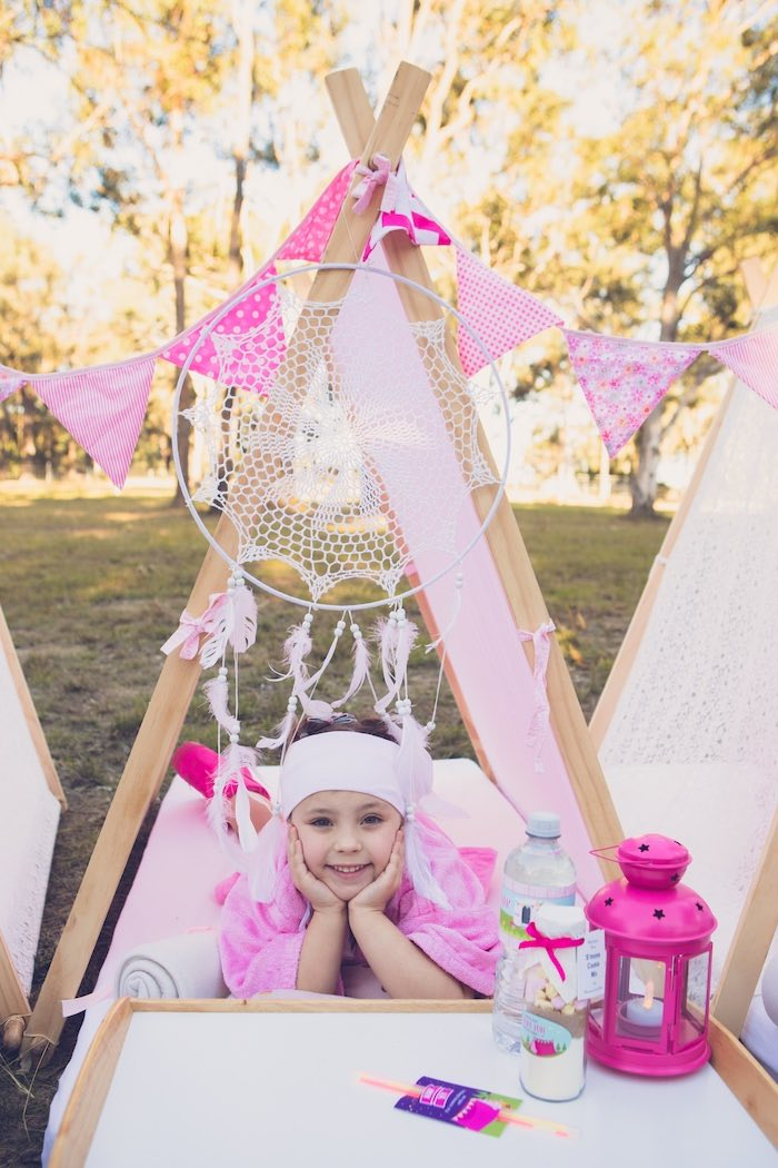 Glam Tent from a Bright & Modern Glamping Birthday Party on Kara's Party Ideas | KarasPartyIdeas.com (37)