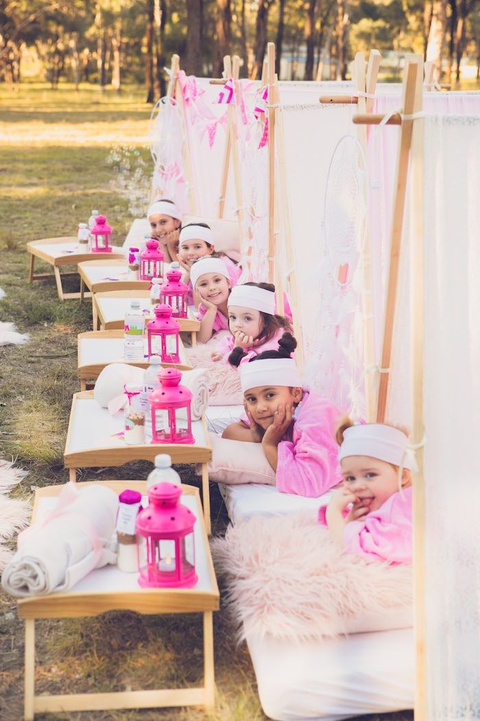 Glam Tents from a Bright & Modern Glamping Birthday Party on Kara's Party Ideas | KarasPartyIdeas.com (35)