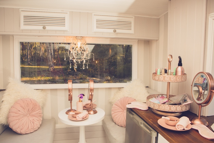 Camper Spa + Glam Station from a Bright & Modern Glamping Birthday Party on Kara's Party Ideas | KarasPartyIdeas.com (34)