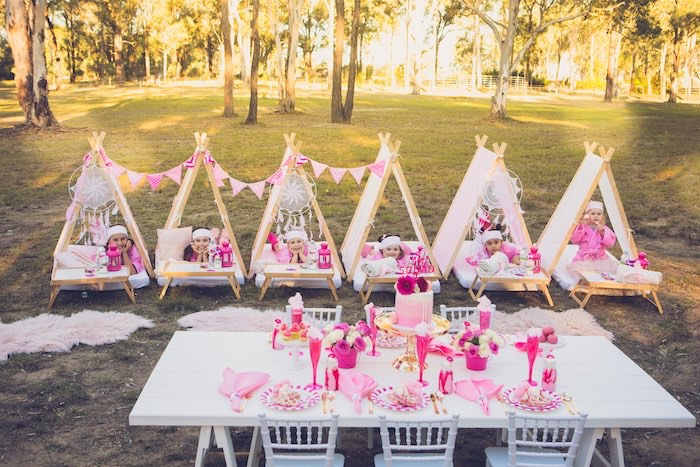 Pink + White Glamping Tents + Guest Table from a Bright & Modern Glamping Birthday Party on Kara's Party Ideas | KarasPartyIdeas.com (32)