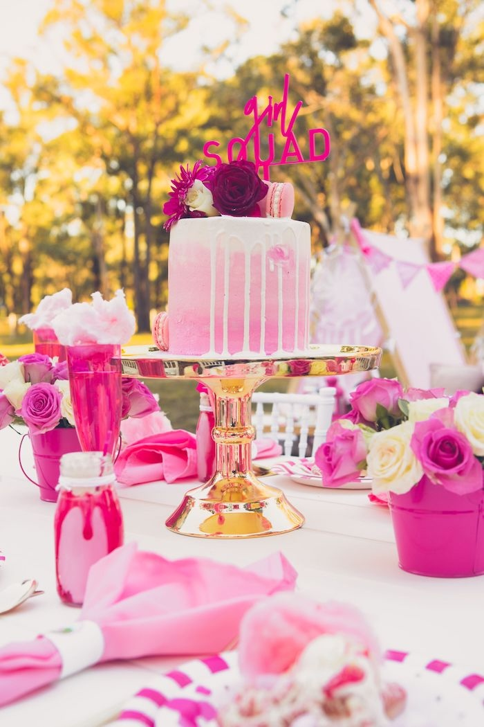 Cake + Guest Table from a Bright & Modern Glamping Birthday Party on Kara's Party Ideas | KarasPartyIdeas.com (31)