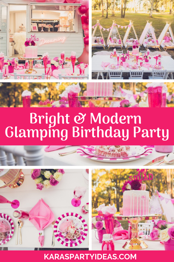 Bright and Modern Glamping Birthday Party via Kara's Party Ideas - KarasPartyIdeas.com