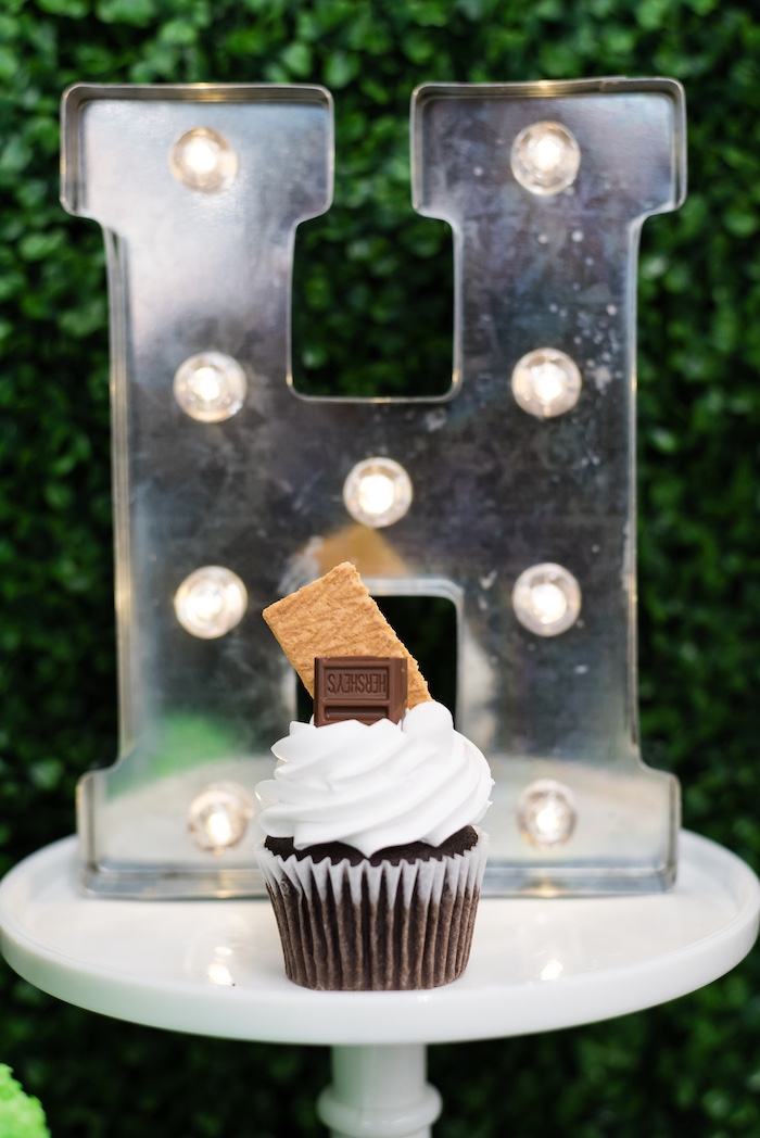 S'more Cupcake from a Camping Birthday Party on Kara's Party Ideas | KarasPartyIdeas.com (11)