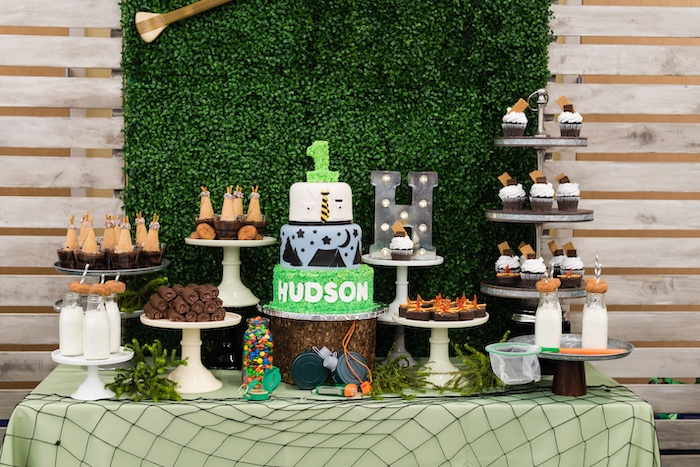 Camping Themed Dessert Table from a Camping Birthday Party on Kara's Party Ideas | KarasPartyIdeas.com (8)
