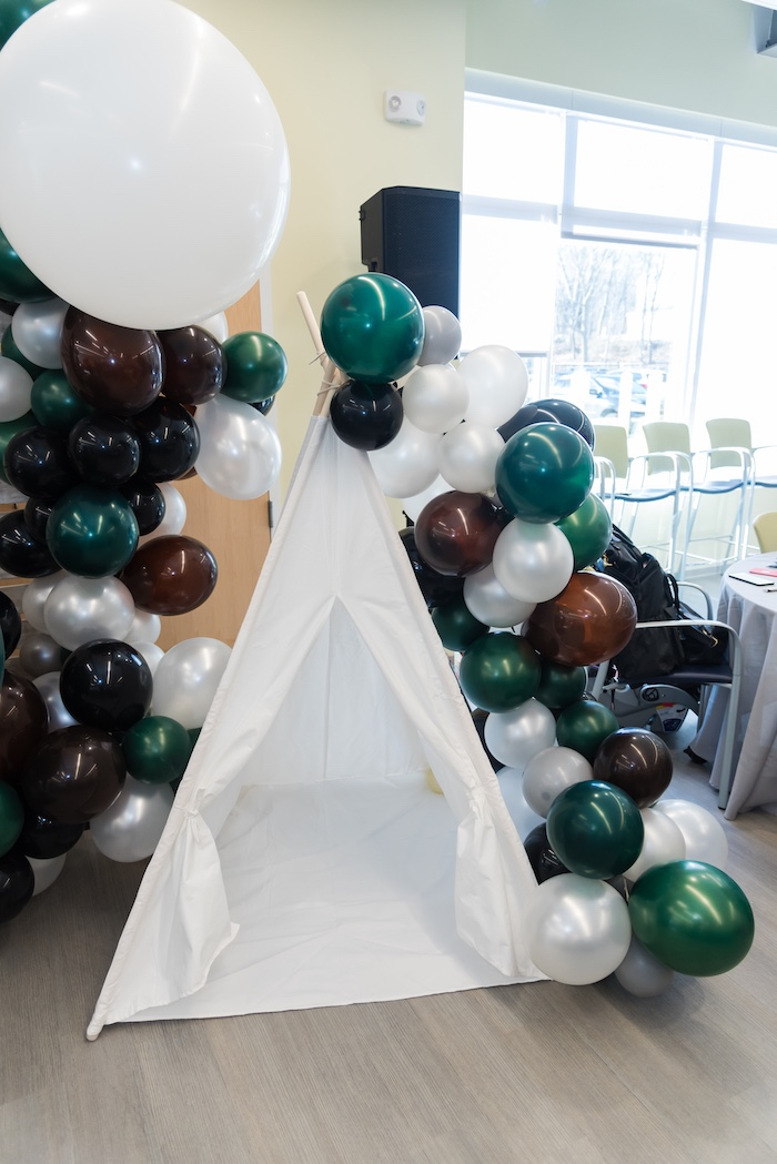 Balloon Garland-adorned Tent from a Camping Birthday Party on Kara's Party Ideas | KarasPartyIdeas.com (27)