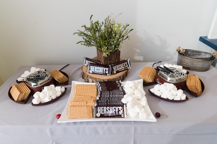 S'more Bar from a Camping Birthday Party on Kara's Party Ideas | KarasPartyIdeas.com (26)