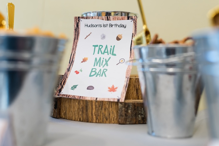 Trail Mix Bar Party Signage from a Camping Birthday Party on Kara's Party Ideas | KarasPartyIdeas.com (23)