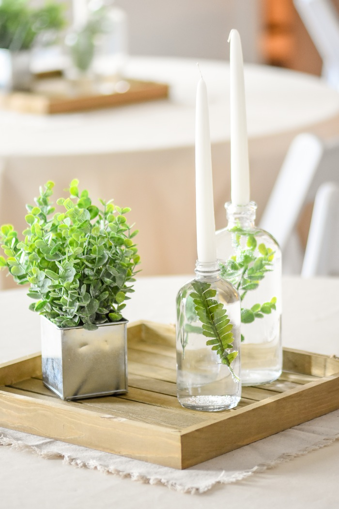 Centerpiece Garden Rustic Earth Right After Rain Farmhouse Boy Baptism Party Luncheon LDS by Kara's Party Ideas 1
