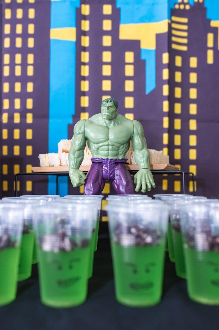 Incredible Hulk Jello Cups from a Comic Book Superhero Birthday Party on Kara's Party Ideas   KarasPartyIdeas.com (26)