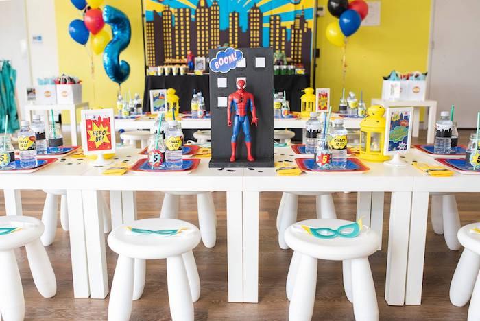 Superhero Party Table from a Comic Book Superhero Birthday Party on Kara's Party Ideas   KarasPartyIdeas.com (25)