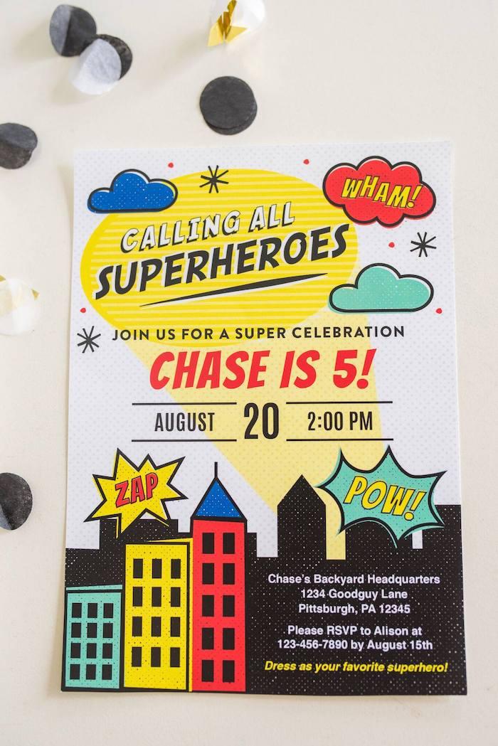 Superhero Party Invite from a Comic Book Superhero Birthday Party on Kara's Party Ideas   KarasPartyIdeas.com (23)