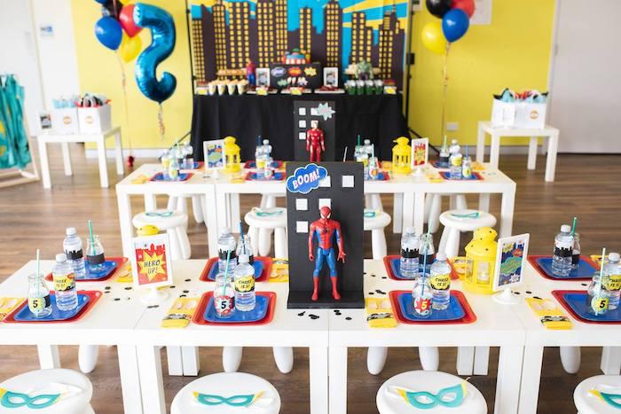Superhero Party Tables from a Comic Book Superhero Birthday Party on Kara's Party Ideas   KarasPartyIdeas.com (18)