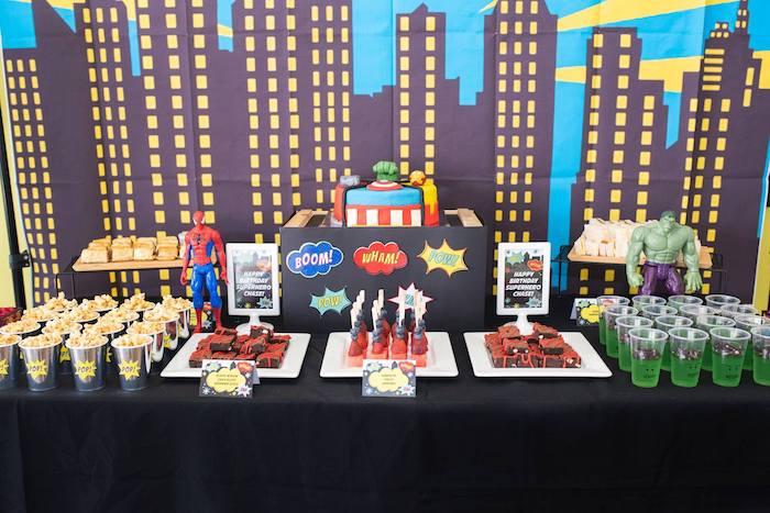 Cityscape Superhero Themed Dessert Table from a Comic Book Superhero Birthday Party on Kara's Party Ideas   KarasPartyIdeas.com (16)