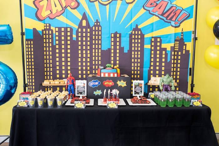Cityscape Superhero Themed Dessert Table from a Comic Book Superhero Birthday Party on Kara's Party Ideas   KarasPartyIdeas.com (14)
