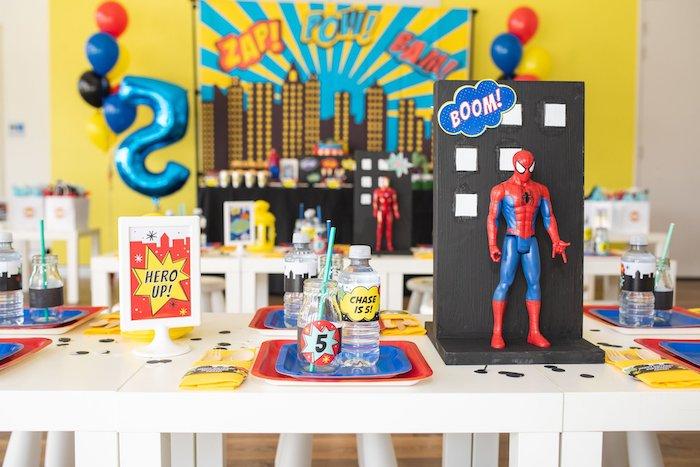 Superhero Party/Kid Table from a Comic Book Superhero Birthday Party on Kara's Party Ideas   KarasPartyIdeas.com (13)