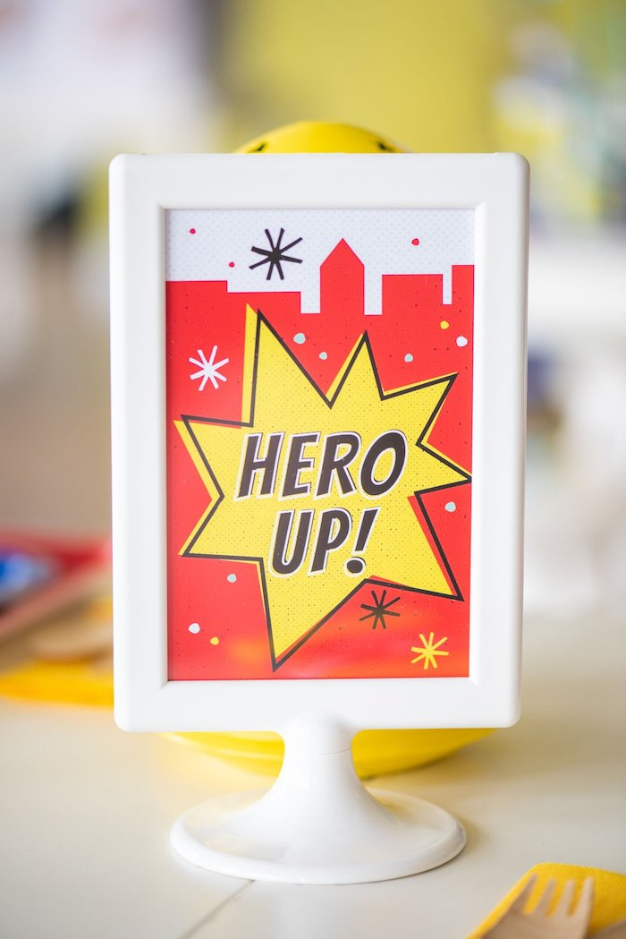 Hero Up! Superhero Party Signage from a Comic Book Superhero Birthday Party on Kara's Party Ideas | KarasPartyIdeas.com (11)