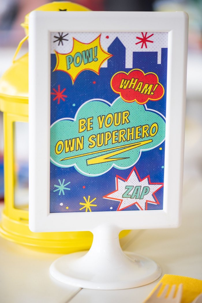 Superhero Party Signage from a Comic Book Superhero Birthday Party on Kara's Party Ideas | KarasPartyIdeas.com (8)