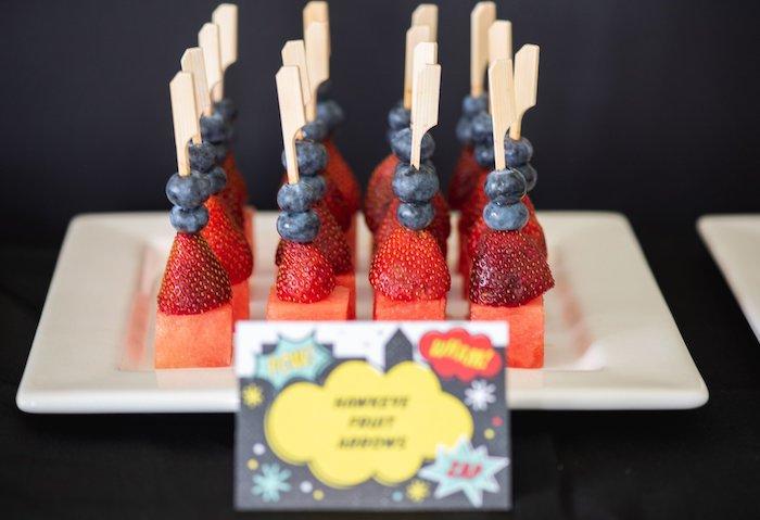 Hawkeye Fruit Arrows from a Comic Book Superhero Birthday Party on Kara's Party Ideas   KarasPartyIdeas.com (35)