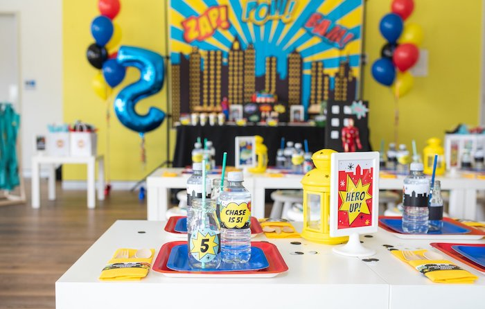 Superhero-inspired Table Setting from a Comic Book Superhero Birthday Party on Kara's Party Ideas | KarasPartyIdeas.com (31)