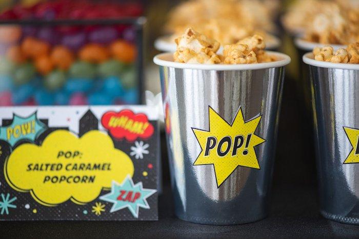 POP - Popcorn from a Comic Book Superhero Birthday Party on Kara's Party Ideas   KarasPartyIdeas.com (30)