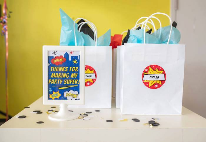 Gift Bags from a Comic Book Superhero Birthday Party on Kara's Party Ideas | KarasPartyIdeas.com (28)