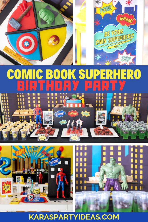 Comic Book Superhero Birthday Party via Kara's Party Ideas - KarasPartyIdeas.com