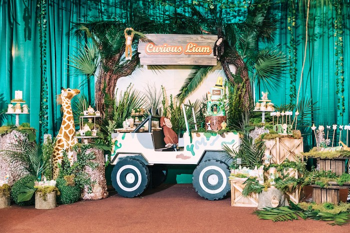 Curious George Safari Jeep Dessert Spread from a Curious George Safari Birthday Party on Kara's Party Ideas | KarasPartyIdeas.com (39)