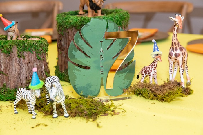 Jungle Leaf Table Number from a Curious George Safari Themed Guest Table + Centerpieces from a Curious George Safari Birthday Party on Kara's Party Ideas | KarasPartyIdeas.com (48)