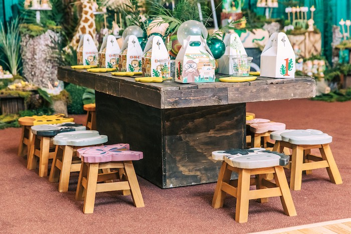Safari Themed Kid Table from a Curious George Safari Birthday Party on Kara's Party Ideas | KarasPartyIdeas.com (29)