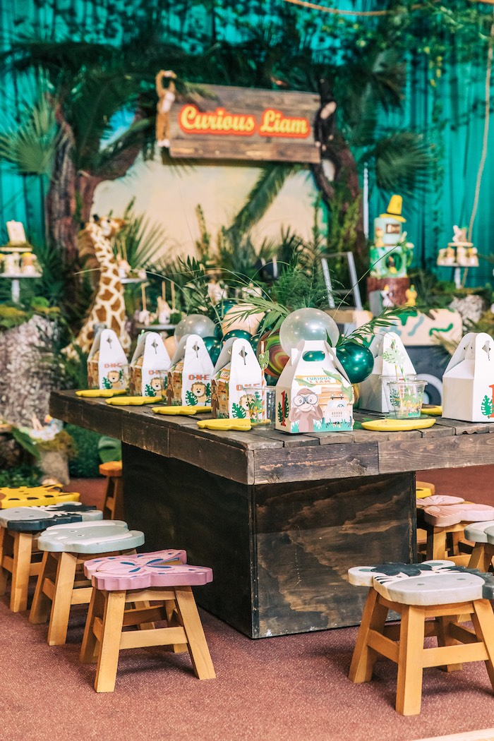 Safari Themed Kid Table from a Curious George Safari Birthday Party on Kara's Party Ideas | KarasPartyIdeas.com (28)