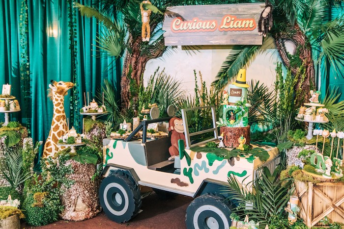 Safari Jeep Dessert Spread from a Curious George Safari Birthday Party on Kara's Party Ideas | KarasPartyIdeas.com (27)