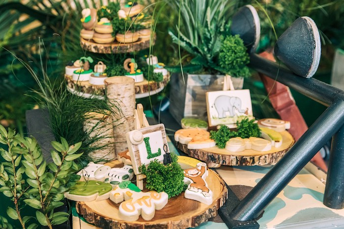 Wood Stump Safari-inspired Dessert Pedestals from a Curious George Safari Birthday Party on Kara's Party Ideas | KarasPartyIdeas.com (26)