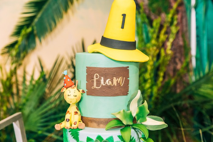 Curious George Safari Birthday Cake from a Curious George Safari Birthday Party on Kara's Party Ideas | KarasPartyIdeas.com (22)