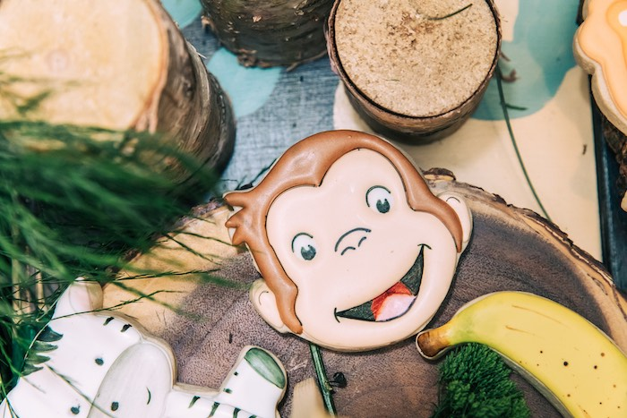 Curious George Sugar Cookie from a Curious George Safari Birthday Party on Kara's Party Ideas | KarasPartyIdeas.com (15)