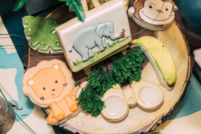 Safari Sugar Cookies from a Curious George Safari Birthday Party on Kara's Party Ideas | KarasPartyIdeas.com (12)