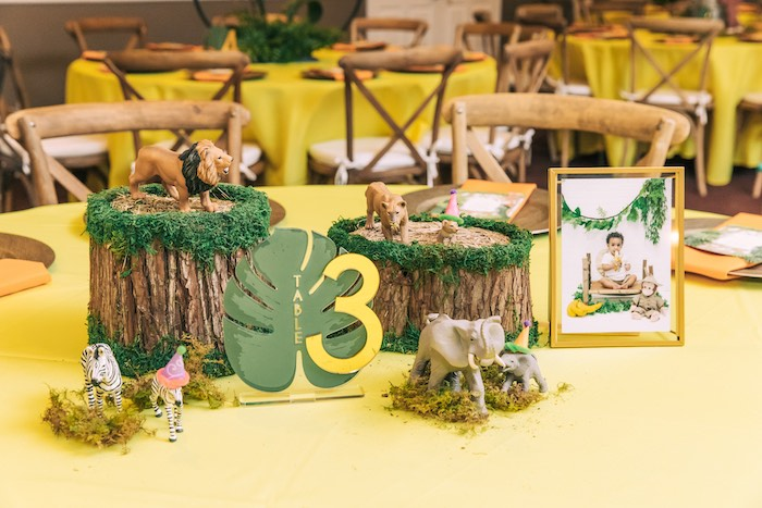 Curious George Safari Themed Guest Table + Centerpieces from a Curious George Safari Birthday Party on Kara's Party Ideas | KarasPartyIdeas.com (46)