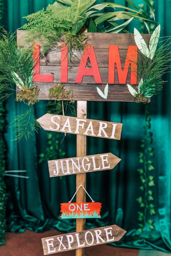 Safari Directional Sign from a Curious George Safari Birthday Party on Kara's Party Ideas | KarasPartyIdeas.com (9)