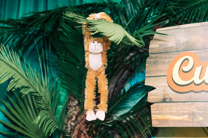 Plush Hanging Monkey from a Curious George Safari Birthday Party on Kara's Party Ideas | KarasPartyIdeas.com (8)