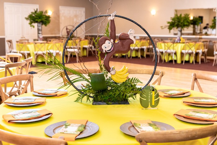 Curious George Guest Table + Centerpiece from a Curious George Safari Birthday Party on Kara's Party Ideas | KarasPartyIdeas.com (7)
