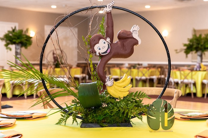 Curious George Table Centerpiece from a Curious George Safari Birthday Party on Kara's Party Ideas | KarasPartyIdeas.com (6)