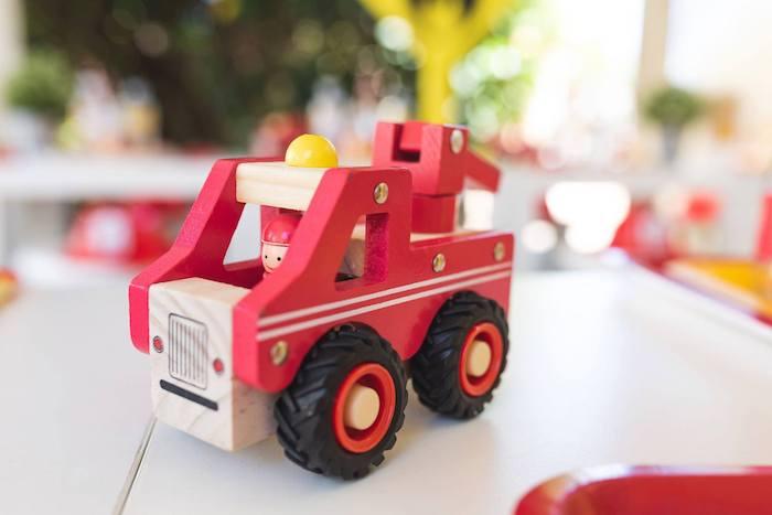 Firetruck Prop + Centerpiece from a Firefighter Birthday Party on Kara's Party Ideas | KarasPartyIdeas.com (21)