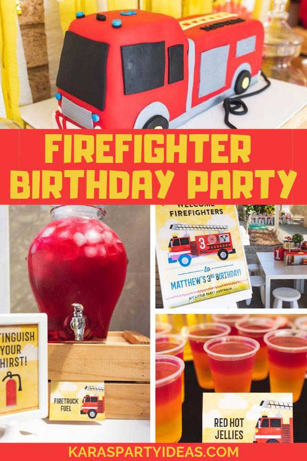 Firefighter Birthday Party via Kara's Party Ideas - KarasPartyIdeas.com