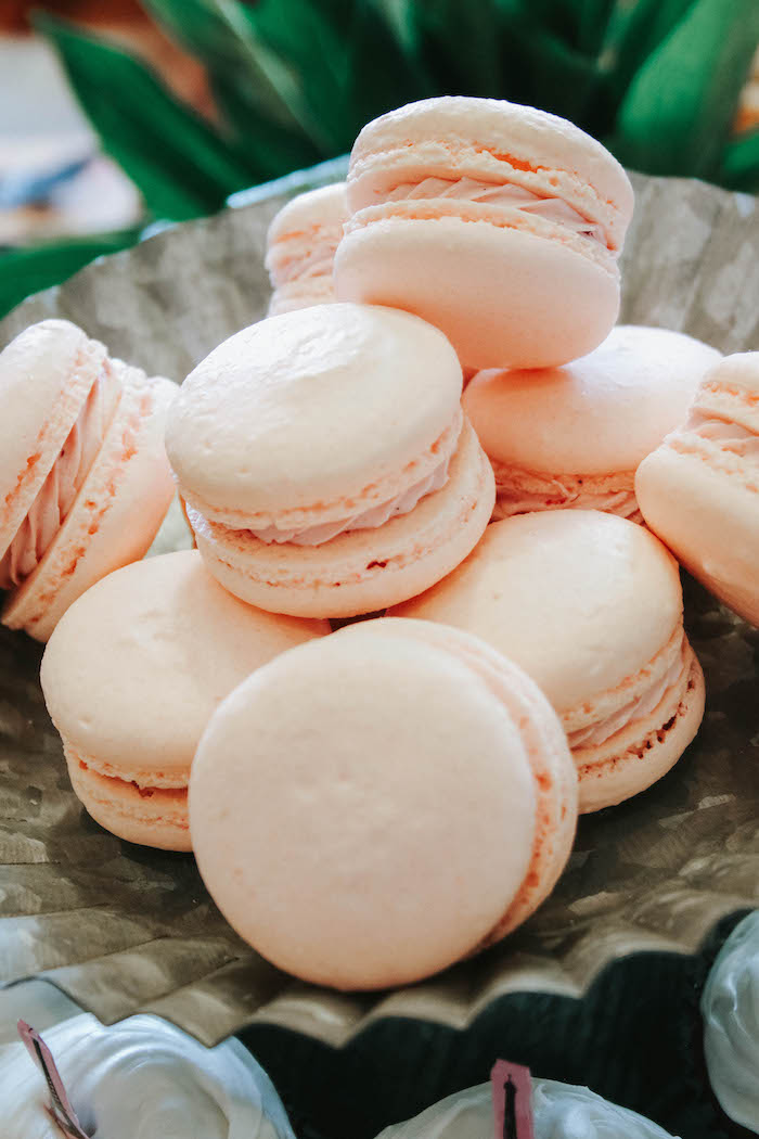 Pink Macarons from a French Market Birthday Party on Kara's Party Ideas | KarasPartyIdeas.com (23)