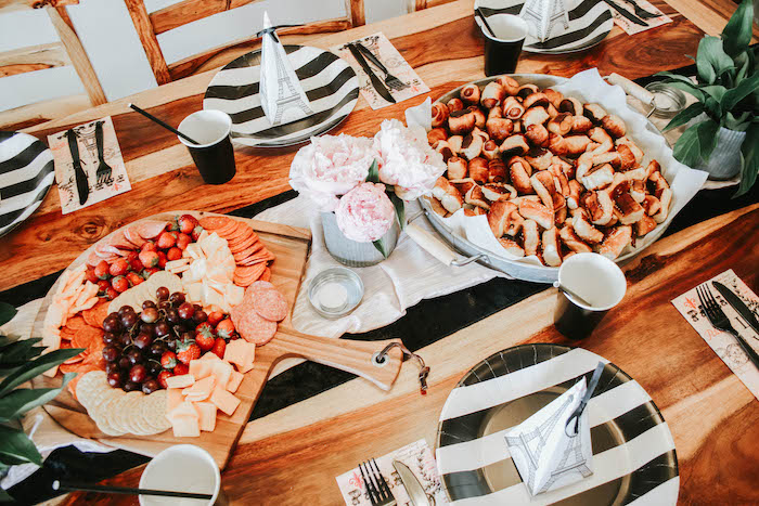 Parisian Themed Guest Table from a French Market Birthday Party on Kara's Party Ideas | KarasPartyIdeas.com (22)